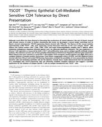 Plos Biology : Tscot+ Thymic Epithelial ... by Ahn, Sejin
