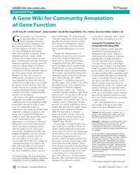 Plos Biology : a Gene Wiki for Community... by Huss, Jon W.