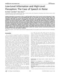 Plos Biology : Low-level Information and... by Nahum, Mor