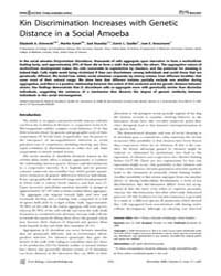 Plos Biology : Kin Discrimination Increa... by Ostrowski, Elizabeth A.