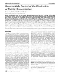 Plos Biology : Genome-wide Control of th... by Lichten, Michael