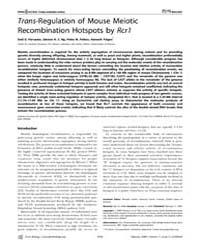 Plos Biology : Trans-regulation of Mouse... by Lichten, Michael