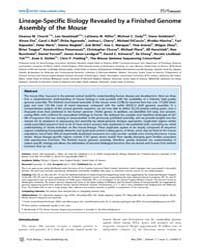 Plos Biology : Lineage-specific Biology ... by Roberts, Richard J.