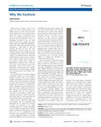 Plos Biology : Why We Conform, Volume 8 by Fischer, Julia