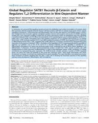 Plos Biology : Global Regulator Satb1 Re... by Nusse, Roel