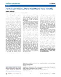 Plos Biology : for Group II Introns, Mor... by Robinson, Richard