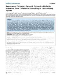 Plos Biology : Asymmetric Excitatory Syn... by Simon, Jonathan Z.