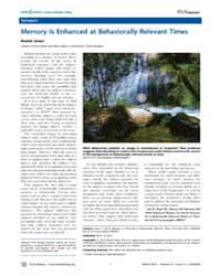 Plos Biology : Memory is Enhanced at Beh... by Jones, Rachel