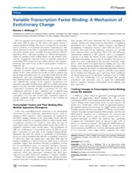 Plos Biology : Variable Transcription Fa... by Wittkopp, Patricia J.