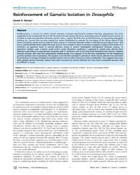Plos Biology : Reinforcement of Gametic ... by Barton, Nick H.