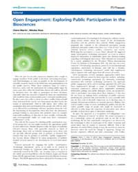 Plos Biology : Open Engagement ; Explori... by Marris, Claire