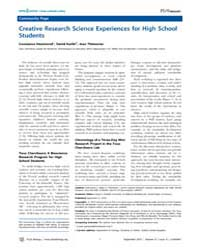 Plos Biology : Creative Research Science... by Hammond, Constance