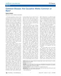 Plos Biology : Common Disease ; Are Caus... by Public Library of Science (Plos)