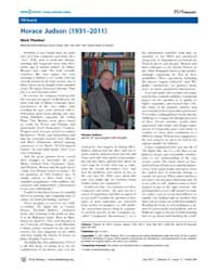 Plos Biology : Horace Judson 1931–2011, ... by Public Library of Science (Plos)