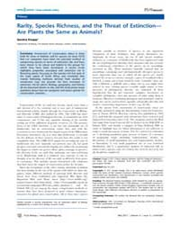 Plos Biology : Rarity, Species Richness,... by Public Library of Science (Plos)