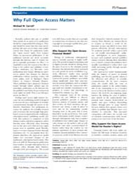 Plos Biology : Why Full Open Access Matt... by Public Library of Science (Plos)