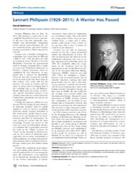 Plos Biology : Lennart Philipson 1929–20... by Public Library of Science (Plos)