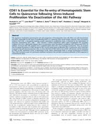 Plos Biology : Cd81 is Essential for the... by J. Eaves, Connie