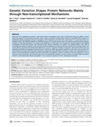 Plos Biology : Genetic Variation Shapes ... by Eisen, Michael B.