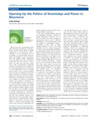 Plos Biology : Opening up the Politics o... by Marris, Claire
