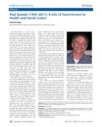 Plos Biology : Paul Epstein 1943–2011 ; ... by Public Library of Science (Plos)