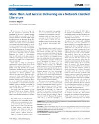 Plos Biology : More Than Just Access ; D... by Hardwick, J. Marie