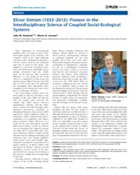 Plos Biology : Elinor Ostrom 1933–2012 ;... by Public Library of Science (Plos)
