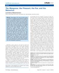 Plos Biology : the Mongoose, the Pheasan... by Etienne, Lucie