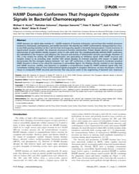 Plos Biology : Hamp Domain Conformers Th... by Hughson, Frederick