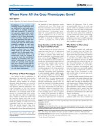 Plos Biology : Where Have All the Crop P... by Zamir, Dani