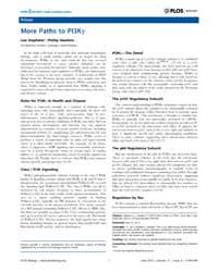 Plos Biology : More Paths to Pi3Kγ, Volu... by Stephens, Len