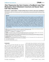 Plos Biology : Fbw7 Repression by Hes5 C... by Kopan, Raphael