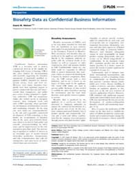 Plos Biology : Biosafety Data as Confide... by Marris, Claire