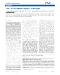Plos Biology : the Case for Open Preprin... by Desjardins-proulx, Philippe