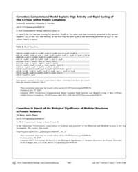 Plos Computational Biology : Correction ... by Goryachev, Andrew, B.