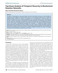 Plos Computational Biology : Top-down An... by Miyano, Satoru