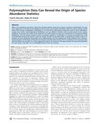 Plos Computational Biology : Polymorphis... by Bergstrom, Carl, T.