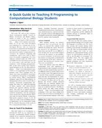 Plos Computational Biology : a Quick Gui... by Lewitter, Fran