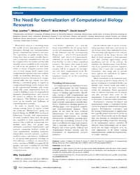 Plos Computational Biology : the Need fo... by F, Lewitter