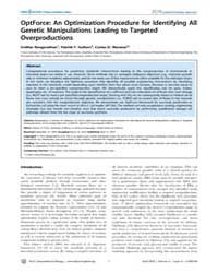 Plos Computational Biology : Optforce ; ... by Ranganathan, Sridhar