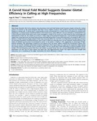 Plos Computational Biology : a Cervid Vo... by Titze, R. Ingo