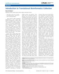 Plos Computational Biology : Introductio... by Lewitter, Fran