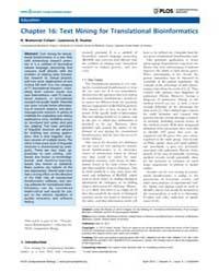 Plos Computational Biology : Chapter 16 ... by Cohen, K. Bretonnel
