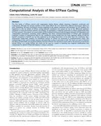 Plos Computational Biology : Computation... by Falkenberg, Cibele, Vieira