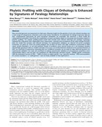 Plos Computational Biology : Phyletic Pr... by Skunca, Nives
