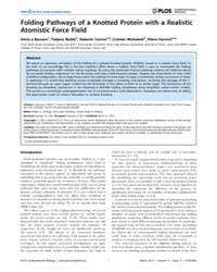 Plos Computational Biology : Folding Pat... by Beccara, Silvio, A
