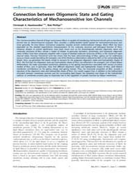 Plos Computational Biology : Connection ... by Haselwandter, Christoph, A.