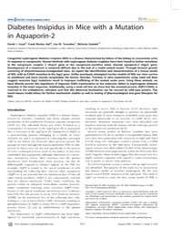 Plos Genetics : Diabetes Insipidus in Mi... by Beier, David