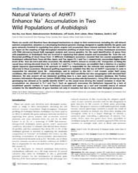 Plos Genetics : Natural Variants of Athk... by Ecker, Joseph R.