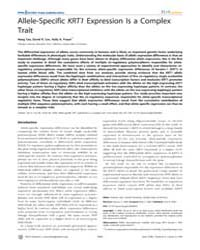 Plos Genetics : Allele-specific Krt1 Exp... by Clark, Andrew